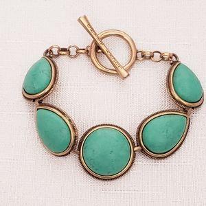 Lucky Brand Antiqued Bronze & Turquoise Bracelet